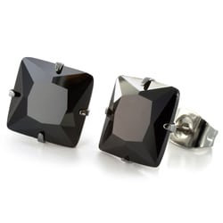 West Coast Jewelry Stainless Steel 9 mm Black Cubic Zirconia Earrings