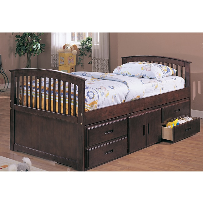 William S Home Furnishing Cherry Twin Size Captain Bed