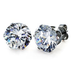 West Coast Jewelry Stainless Steel 10 mm Cubic Zirconia Stud Earrings
