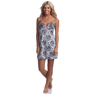 Illusion Women's Cotton Flowerprint Spaghetti Strap Nightgown