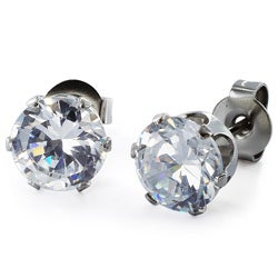 West Coast Jewelry Stainless Steel 7 mm Cubic Zirconia Stud Earrings