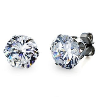 West Coast Jewelry Stainless Steel 8 mm Cubic Zirconia Stud Earrings