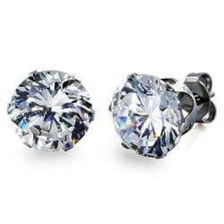 West Coast Jewelry Stainless Steel 9 mm Cubic Zirconia Stud Earrings