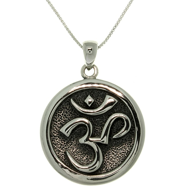 Carolina Glamour Collection Sterling Silver 'Om' Meditation Necklace