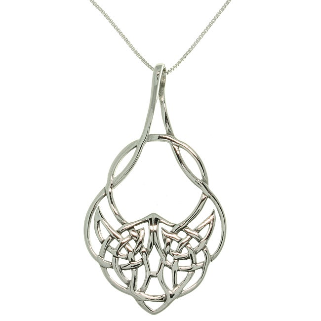 Carolina Glamour Collection Sterling Silver Celtic Teardrop Knot Necklace