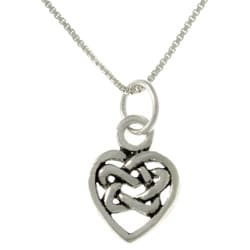 Carolina Glamour Collection Sterling Silver Celtic Knot Heart Necklace