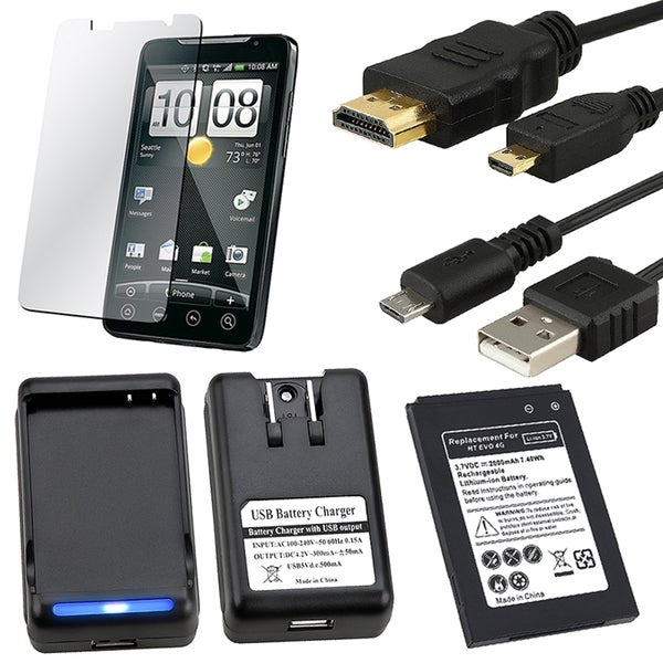 Battery/ Charger/ Screen Protector/ HDMI/ USB Cable for HTC EVO 4G