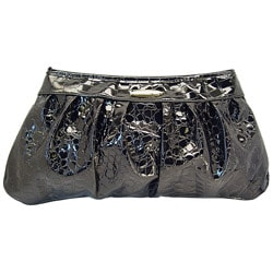 Ronella Lucci Vecceli Crocodile Embossed Black Clutch