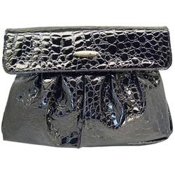 Ronella Lucci Vecceli Italy Crocodile Embossed Black Clutch