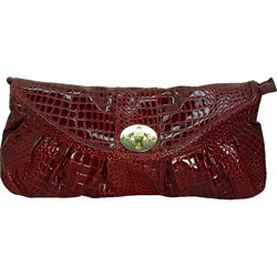 Ronella Lucci Vecceli Crocodile Embossed Red Clutch
