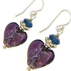 Misha Curtis Sterling Silver Crystal and Purple Glass Heart Ear