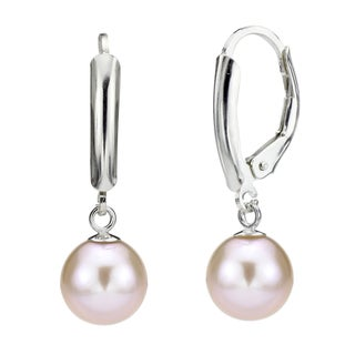 DaVonna Silver Pink Round FW Pearl Leverback Earrings (8-9 mm)