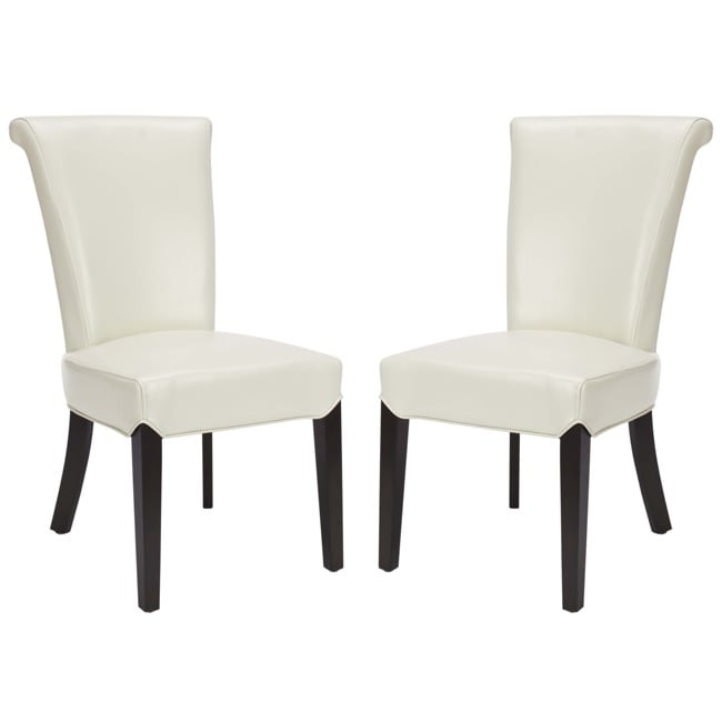 Safavieh Madison Cream Leather Side Chairs (Set of 2)