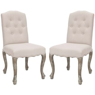 Safavieh Nirot Beige Linen Side Chairs (Set of 2)