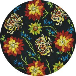 Hand-hooked Coventry Black Floral Rug (7'10 Round)
