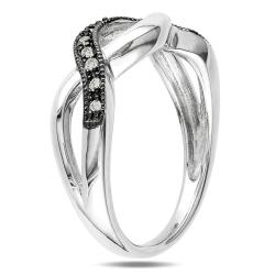 M by Miadora Black and White Sterling Silver 1/10ct TDW Diamond Infinity Ring
