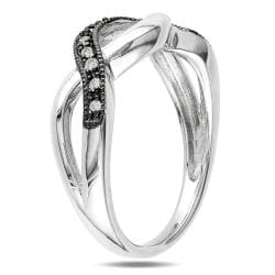 Miadora Black and White Sterling Silver 1/10ct TDW Diamond Infinity Ring