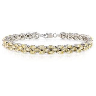 Miadora Sterling Silver Marquise-cut Citrine Tennis Bracelet
