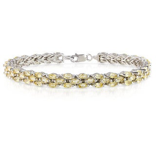 Miadora Sterling Silver Marquise-cut Citrine Tennis Bracelet
