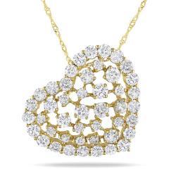 Miadora 14k Yellow Gold 3ct TDW Diamond Heart Pendant (G-H, SI1-SI2)