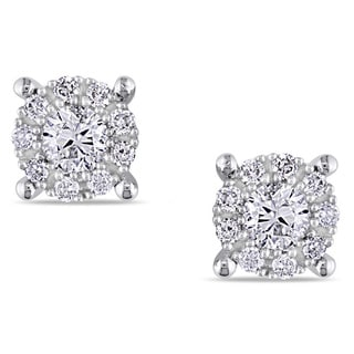 Miadora 14K White Gold 1/2 CT TDW White Diamond Stud Earrings (G-H, I1-I2)