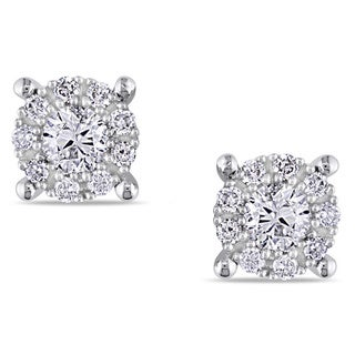 14K White Gold 1/2 CT TDW Diamond Stud Earrings (G-H, I1-I2)