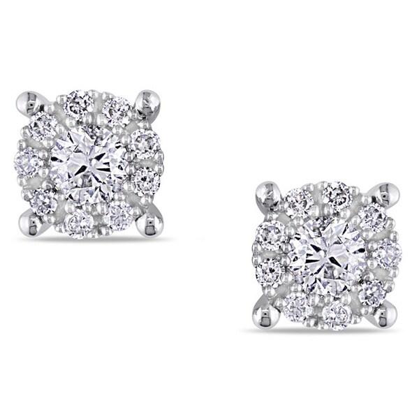 Miadora 14K White Gold 1/2 CT TDW Diamond Stud Earrings (G-H, I1-I2)