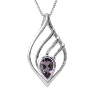 Sterling Silver Amethyst Teardrop Necklace (Thailand)