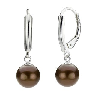 DaVonna Silver Chocolate Round FW Pearl Leverback Earrings (9-10 mm)