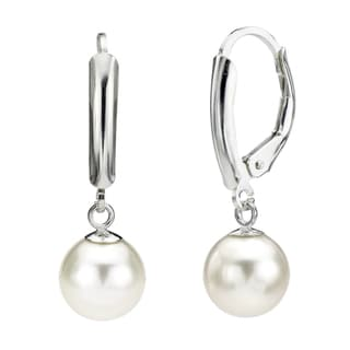 DaVonna Silver White Round FW Pearl Leverback Earrings (10-11 mm)