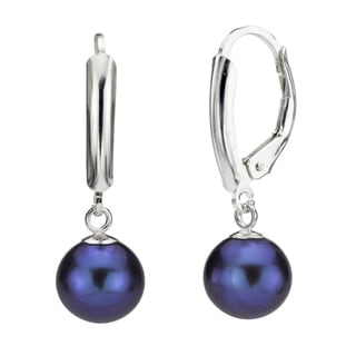 DaVonna Silver Black Round FW Pearl Leverback Earrings (10-11 mm)