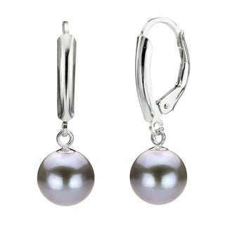 DaVonna Silver Grey Round FW Pearl Leverback Earrings (10-11 mm)