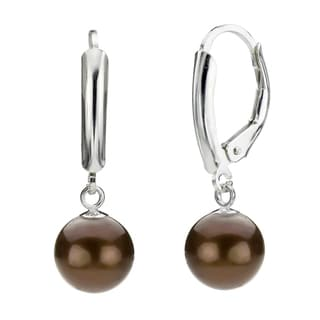 DaVonna Silver Chocolate Round FW Pearl Leverback Earrings (10-11 mm)
