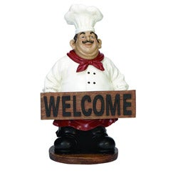 Casa Cortes French Chef with Welcome Sign Kitchen Decor
