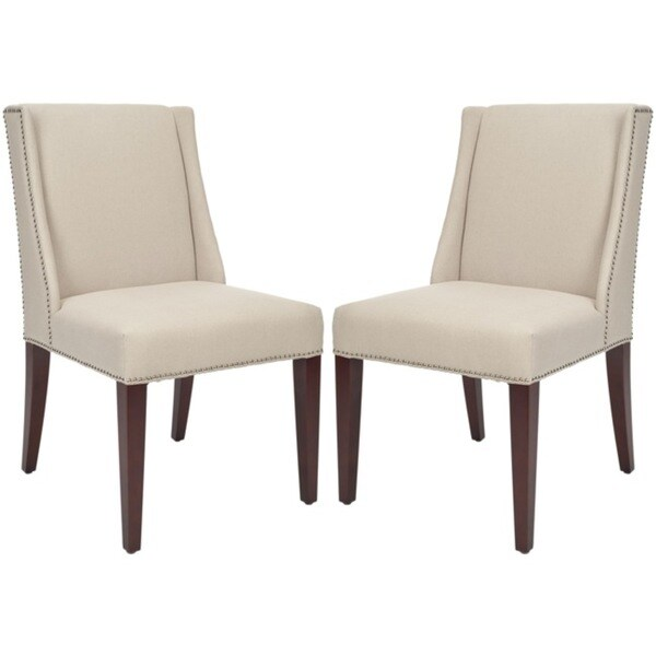 Safavieh En Vogue Dining Noho Beige Linen Side Chairs (Set of 2)