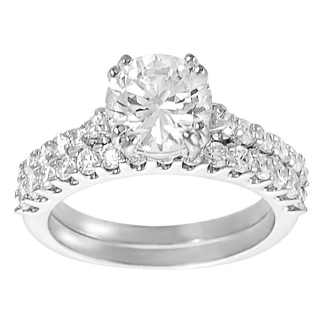 Journee Collection Silvertone Round-cut CZ Bridal Ring Set