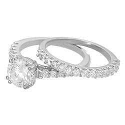 Journee Collection Silvertone Round-cut CZ Bridal Ring Set