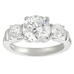 Journee Collection Silvertone Round-cut CZ Bridal Ring