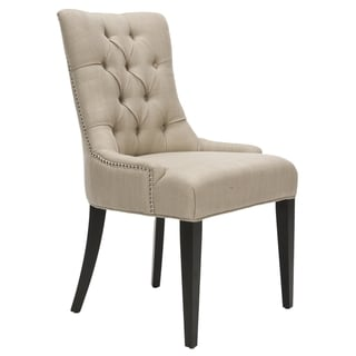 Safavieh Nimes Beige Tufted Linen Side Chair