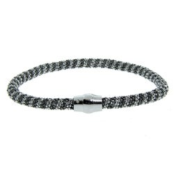 Eternally Haute Sterling Silver Black and White Mesh Bracelet