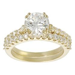 Journee Collection Goldtone Round-cut CZ Bridal Ring Set