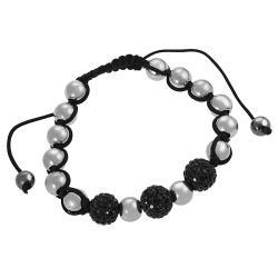 Tressa Stainless Steel Black CZ Ball Pull Bracelet