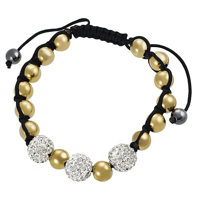 Journee Stainless Steel CZ and Goldtone Ball Pull Bracelet