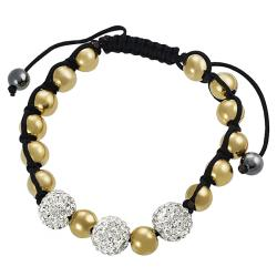 Tressa Stainless Steel CZ and Goldtone Ball Pull Bracelet