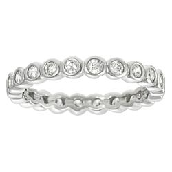 Journee Collection Sterling Silver Bezel-set Cubic Zirconia Ring