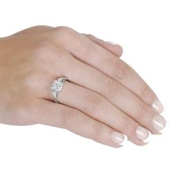 Tressa Sterling Silver White Princess-cut Cubic Zirconia Ring
