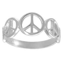 Tressa Sterling Silver Peace Sign Ring