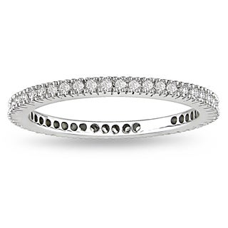 Miadora 18k White Gold 1/4ct TDW Diamond Eternity Wedding Band (G-H, SI1-SI2)