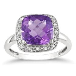 Miadora 10k White Gold Amethyst and 1/10ct TDW Diamond Ring (G-H, I2)