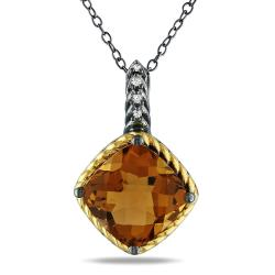 Silver Cognac Quartz and Diamond Accent Necklace (G-H, I3)